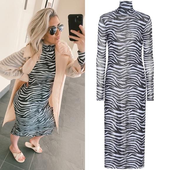 [STAUD] zebra-print stretch-mesh midi dress